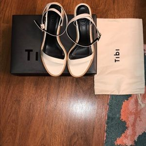Tibi Ivory Leather Heel Sandals in Size 37.5